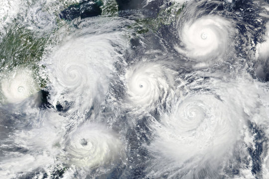 Collage with many hurricanes. Elements of this image furnished by NASA.