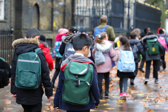 Happy primary asian, india, Chinese & Caucasian student, kids, pupils & teacher carrying  school bags on their way to visit British museum, London, in rain winter day, with red maple leaves on ground