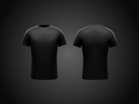 Black male t-shirt on dark black background. Both sides