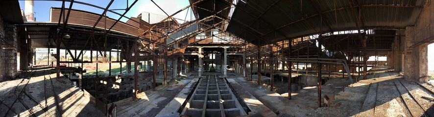 Panoramic View Of Abandoned Factory
