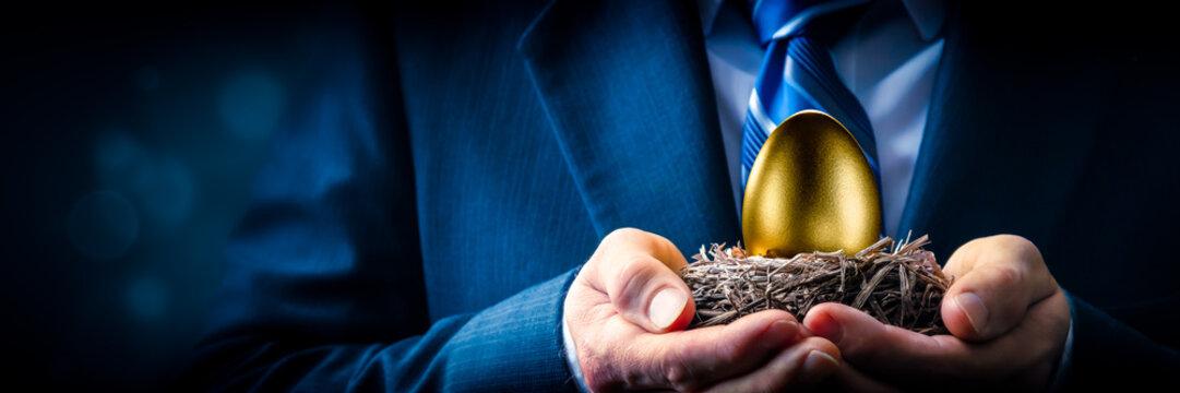 Hands Of Business Man Holding Golden Nest Egg - Investment Concept
