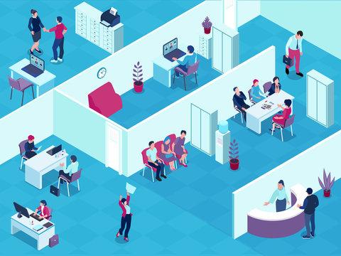 Recruitment Agency Interior Isometric