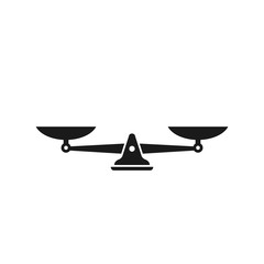 Black mechanical scales balance icon isolated on white. Justice, law scale. Vector illustration.