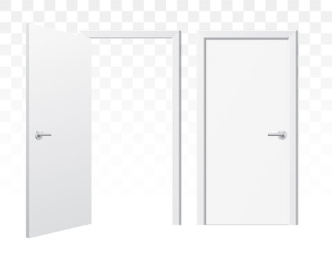 Set of opened and closed white doors on a transparent background. Vector doors in a front view, isolated on background. Simple and modern shape wooden doors in different positions.