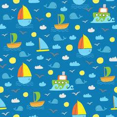 Cute kids seamless marine pattern with whales and ships