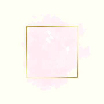 Abstract pink water color brush with rectangle geometric frame gold color, beauty and fashion background concept