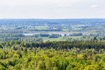 View of forest and lake landscape
