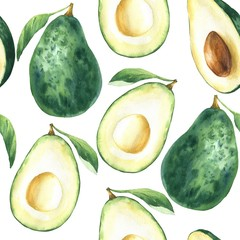 Watercolor avocado seamless pattern, hand drawn food repeating background.