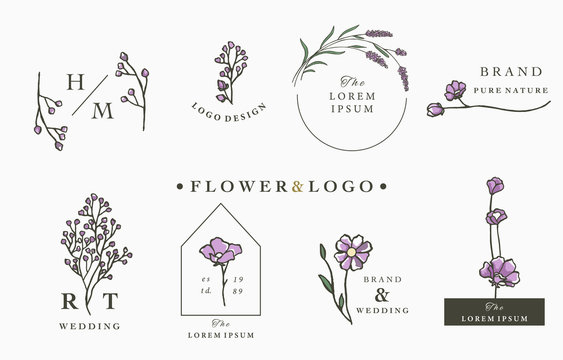 flower logo collection with leaves,geometric,circle,square frame.Vector illustration for icon,logo,sticker,printable and tattoo