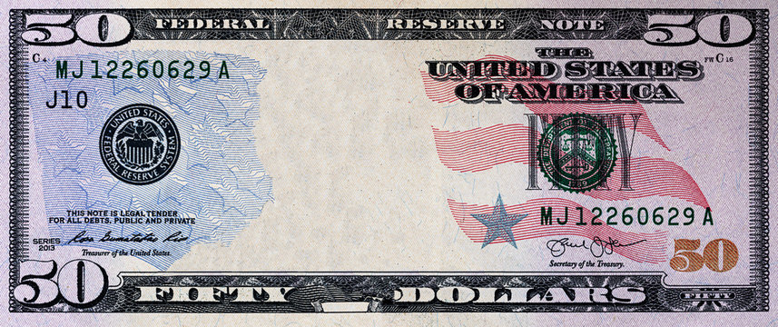 U.S. 50 dollar with empty middle area