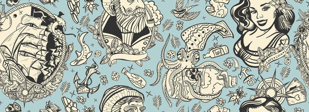 Sea adventure vintage seamless pattern. Sea wolf captain, octopus kraken, pirate ship and sailor girl. Nautical art. Old school tattoo style. Marine background. Funny underwater monster