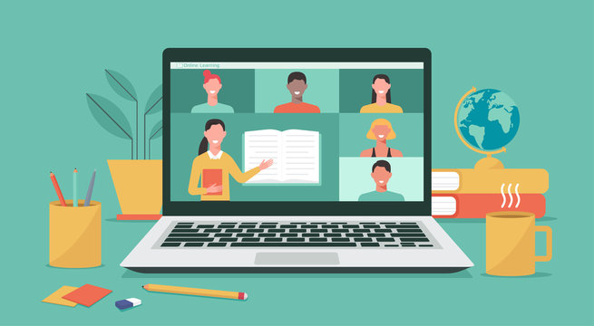 online education or e-learning, home school, teacher teaching students on computer laptop screen, distance learning, online course concept, new normal, vector flat illustration
