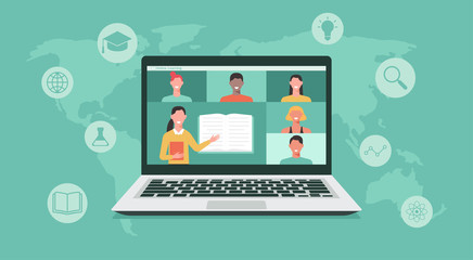 Obraz online education or e-learning, home school, teacher teaching students on computer laptop screen, distance learning all over the world, online course concept, new normal, vector flat illustration - fototapety do salonu