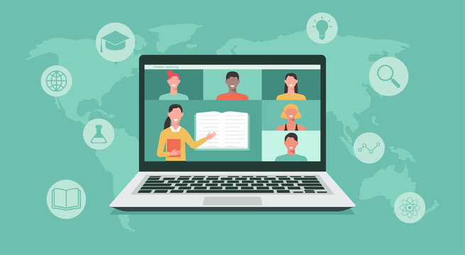 online education or e-learning, home school, teacher teaching students on computer laptop screen, distance learning all over the world, online course concept, new normal, vector flat illustration