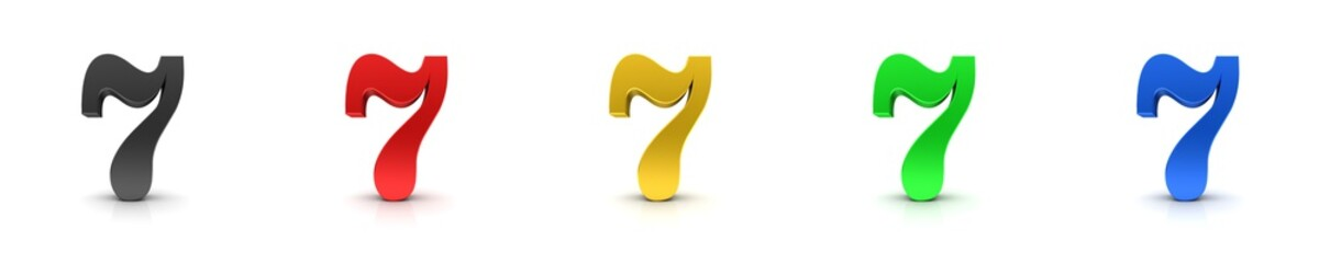 7 seven numbers 3d sign black red gold green blue Wall mural