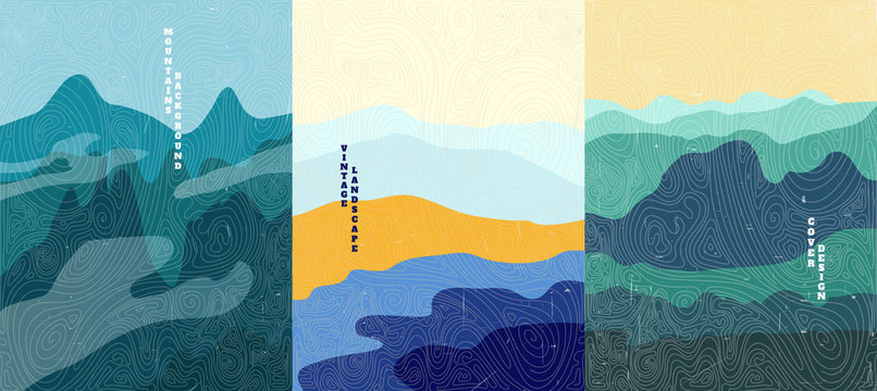 Vector illustration landscape. Wood surface texture. Mountain peaks, water in desert, green hills. Line pattern. Mountain background. Asian style. Design for poster, book cover, web template, brochure