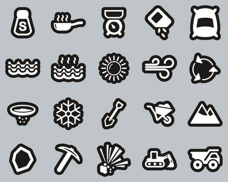 Salt & Salt Mining Icons White On Black Sticker Set Big