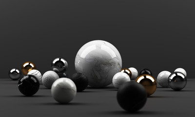 black and white marble texture geometric shape and gold with stainless object group set 3d render abstract scene blank podium with black background