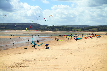 Windsurfers at Exmouth beach in Devon