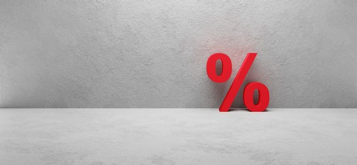 3d render of a discount sign or percentage sign on white concrete background, illustration