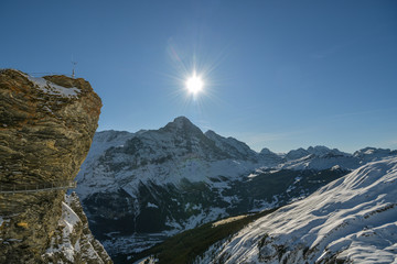 Wall Mural - Adrenaline cliff walk on top of Grindelwald First with beautifiul views on Bernese Alps