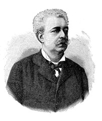 Engraving portrait of Edmondo De Amicis (1846 - 1908) Italian successful novelist, best-known for his children's novel  Cuore (Heart)
