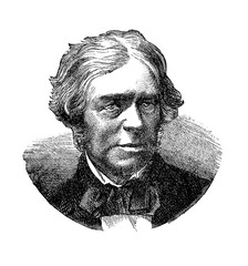 Engraving portrait of Michael Faraday (1791 - 1867), English scientist famous for his study of electromagnetism and electrochemistry and the discovery of the  laws of electrolysis.