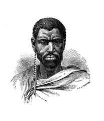 Engraving portrait of Mgolombane Sandile (1820–1878)  charismatic chief of some tribes of Xhosa nation, a Bantu ethnic group from Southern Africa in frontier wars against the British army.