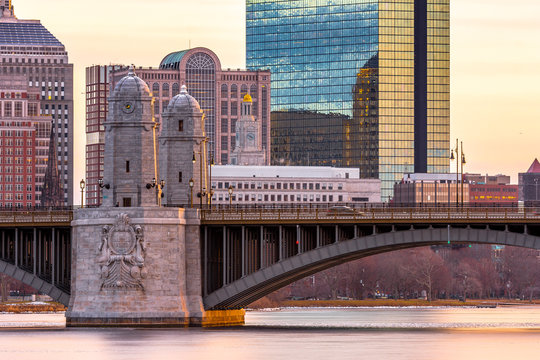 View of Longfellow Bridge,Boston in the morning. It is a bridge spanning the Charles River to connect Boston's Beacon Hill neighborhood with the Kendall Square area of Cambridge, Massachusetts.