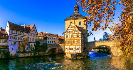 Travel in Bavaria (Germany) - beautiful medieval Bamberg town. view of city hall on the bridge