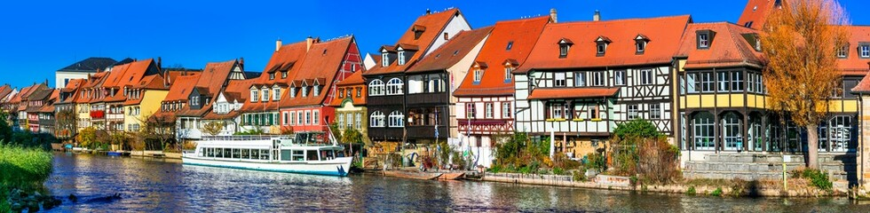Travel in Bavaria (Germany) - scenic Bamberg town.Traditional colorful houses over canals