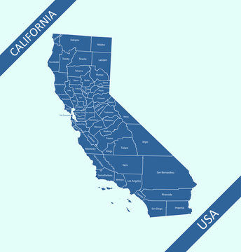 County map of California USA state