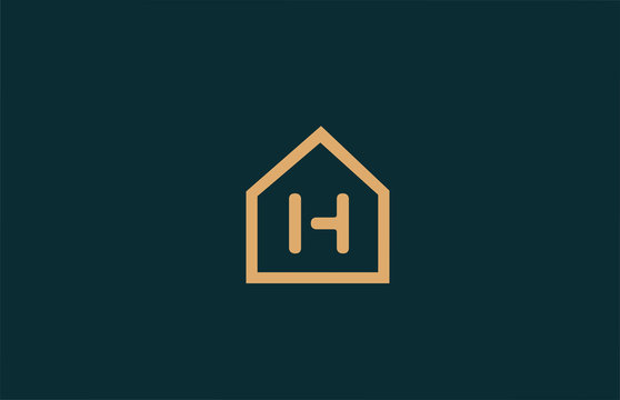 yellow H alphabet letter logo icon for company and business with house contour design