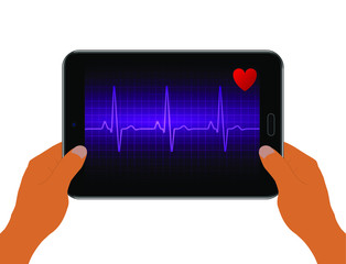 Realistic heart rate graph on screen black tablet. Hands hold tablet. Heart beat. Ekg icon wave. Purple color. Stock vector illustration.
