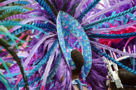 Full Frame Shot Of Multi Colored Feathers In Carnival Costumes