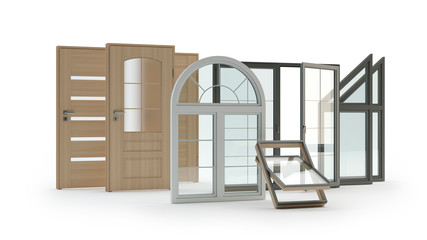 Windows and doors isolated on white, 3d illustration