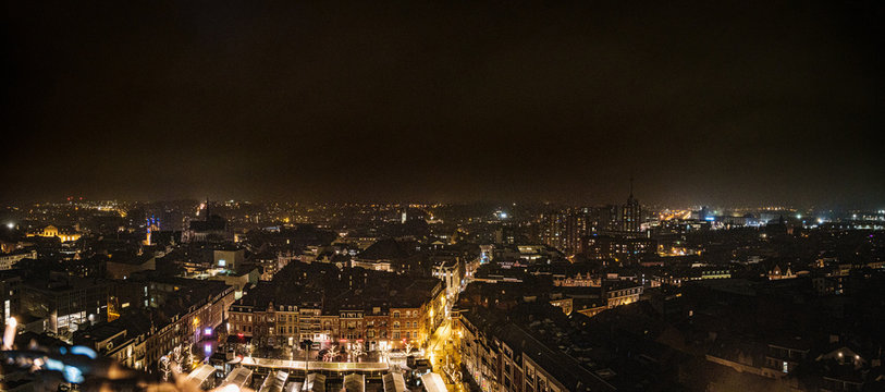 Panoramic nightscape from atop the library tower in Leuven