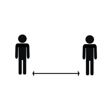 Pictogram of a human figure keeping a social distance. Banner. Keep your distance 6 feet.