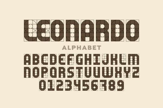 Modern font design based on certain guidelines, alphabet letters and numerals
