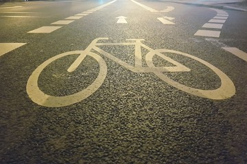 Fotomurales - High Angle View Of Bicycle Lane