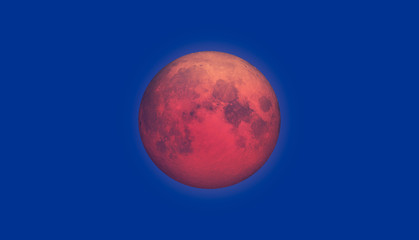 Wall Mural - Lunar eclipse - Full bloody (red) Moon setting rising over the horizon.