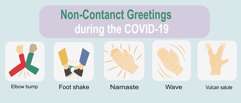 Non-Contact Greetings during the COVID-19 or coronavirus period. Five interesting greeting options, including elbow bump, Foot shake, wave, namaste and Vulcan salute greeting.
