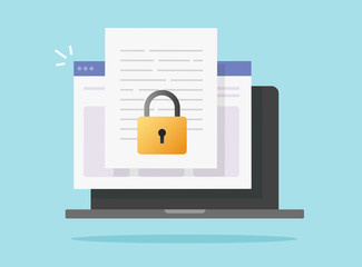 Document secure confidential online access on computer laptop vector isolated or internet web privacy protection on text file flat icon, concept of private secret website data lock image symbol Wall mural