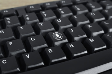 Download flat icon on black computer keyboard button, Technology internet online concept