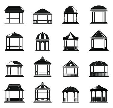 Wood gazebo icons set. Simple set of wood gazebo vector icons for web design on white background