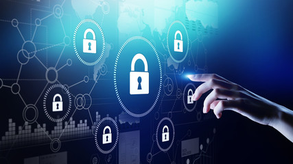 Wall Mural - Cyber security, Information privacy, Data protection. Internet and technology concept on virtual screen.