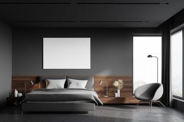Grey and wooden master bedroom with poster
