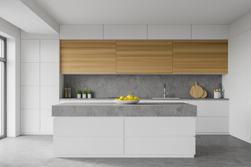 Spoed Fotobehang Hoogte schaal White kitchen interior with island