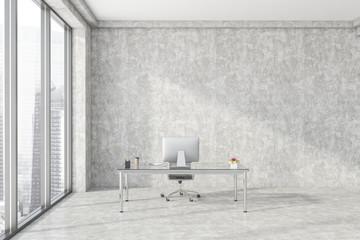 Concrete loft CEO office interior