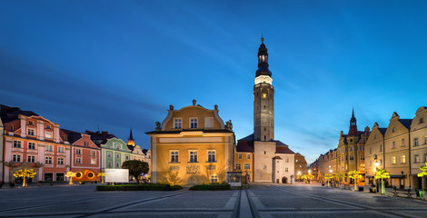 Boleslawiec, Poland. View of Market Square (Rynek) with historic building of Town Hall at dusk